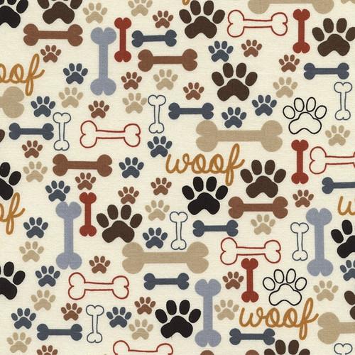 Timeless Treasures Pure Breeds Dog Bones & Paw Prints Cream 100% Cotton (TT Dog Bones & Paw Prints)