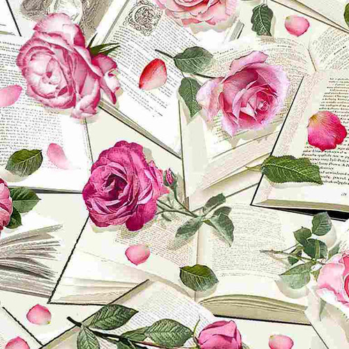 Timeless Treasures Paris Atelier Roses With Books Pink 100% Cotton Remnant (28 x 112cm TT Roses With Books)