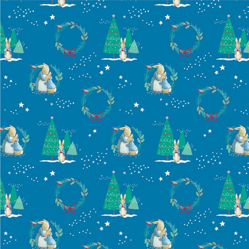 Frederick Warne & Co Christmas Peter Rabbit Hugs Blue 100% Cotton Remnant (41 x 110cm Peter Rabbit 17)