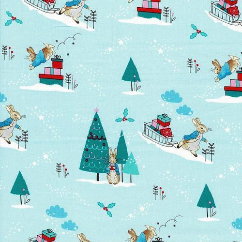 Frederick Warne & Co Christmas Peter Rabbit Delivering Presents Light Blue 100% Cotton Remnant (40 x 110cm Peter Rabbit 15)