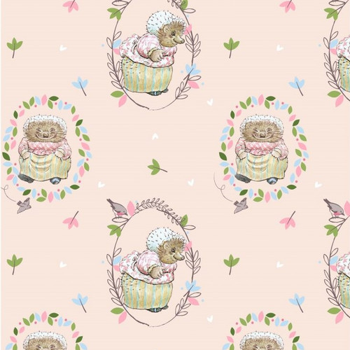Mrs Tiggywinkle Pink 100% Cotton Remnant (41 x 110cm Peter Rabbit 9)