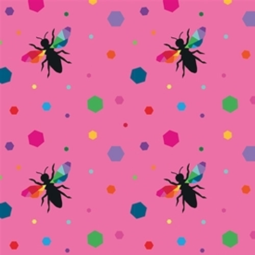 Riley Blake Create Hexie Bees Pink 100% Cotton (RB Create 3)