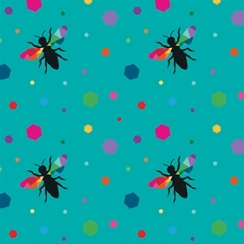 Riley Blake Create Hexie Bees Turquoise 100% Cotton (RB Create 5)