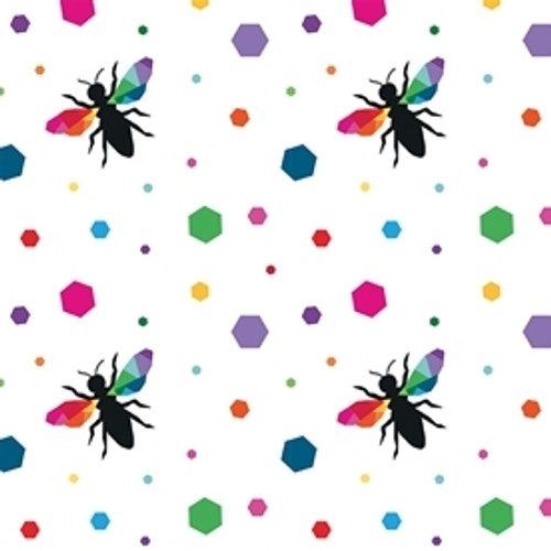 Riley Blake Create Hexie Bees White 100% Cotton (RB Create 6)