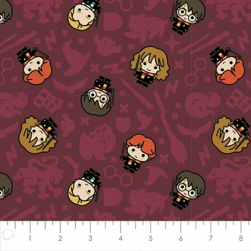 Harry Potter Wizarding World Kawaii Rookie Wizards Burgundy 100% Cotton (Harry Potter 29)