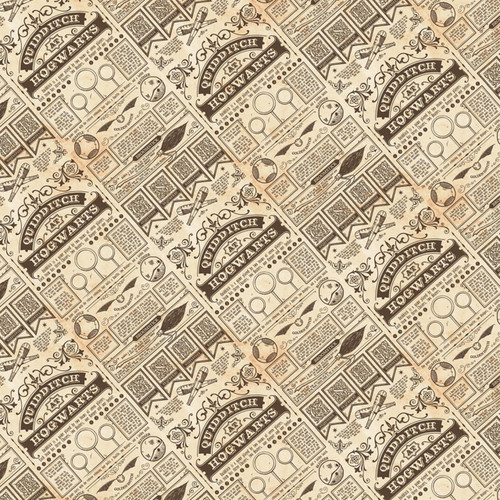 Harry Potter Wizarding World Quidditch At Hogwarts Taupe Cream 100% Cotton (Harry Potter 30)