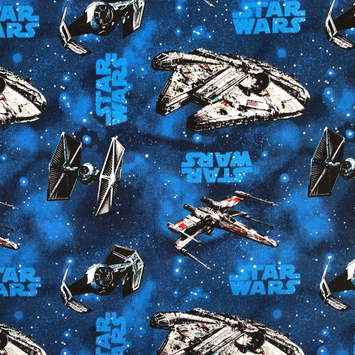 Disney Star Wars Millenium Falcon Spaceships Blue 100% Cotton (Star Wars 24)