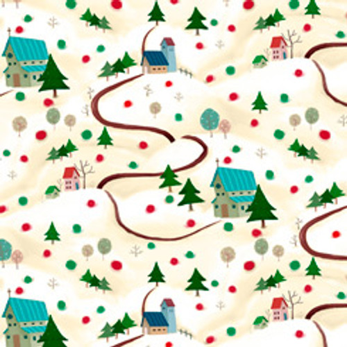 Quilting Treasures Warm Wishes Winter Scene Cream 100% Cotton Remnant (60 x 112cmQT Warm Wishes)