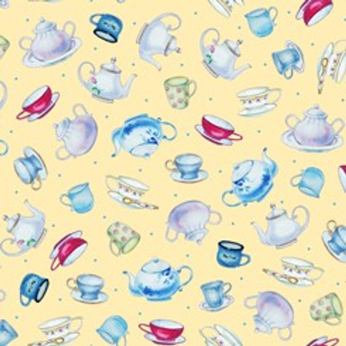 Quilting Treasures This & That III Teapots & Cups Yellow 100% Cotton Remnant (68 x 110cm QT Teapots Yellow)