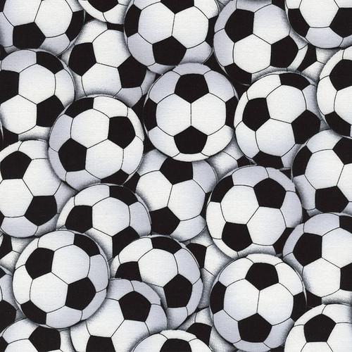Timeless Treasures Goal! Packed Footballs White Black 100% Cotton Remnant (48 x 112cm TTFootball)