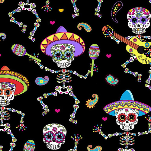 Timeless Treasures Sugar Skull Dancing Day Of The Dead Bright Black 100% Cotton Remnant (64 x 112cm TT Day Of The Dead 1)
