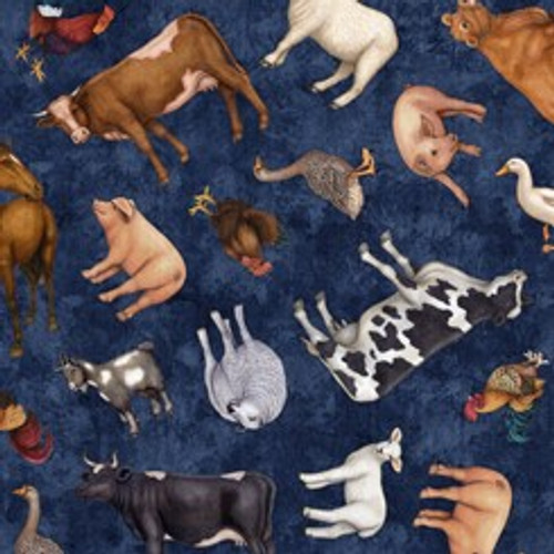 Quilting Treasures Sunrise Farms Farm Animals Pigs Cows Sheep Tossed Navy Blue 100% Cotton (QT Sunrise Farms 1)