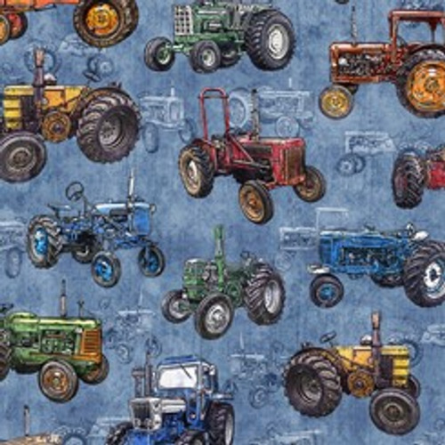 Quilting Treasures Sunrise Farms Tractors Tossed Chambray Blue 100% Cotton (QT Sunrise Farms 2)
