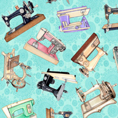 Quilting Treasures Tailor Made Sewing Machines Light Aqua 100% Cotton (QT Tailor Made 2)