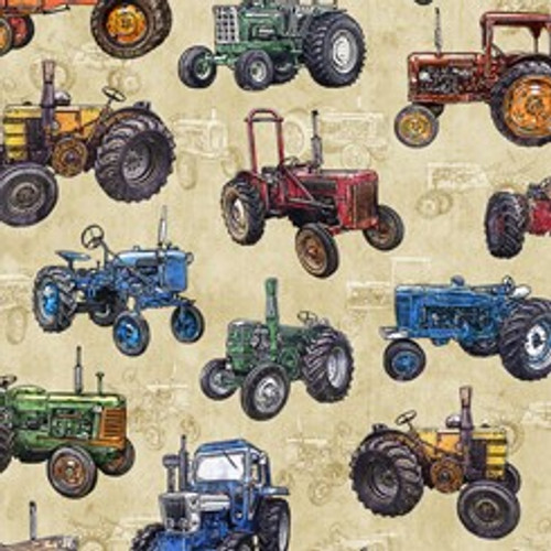 Quilting Treasures Sunrise Farms Tractors Tossed Dark Cream 100% Cotton (QT Sunrise Farms 3)