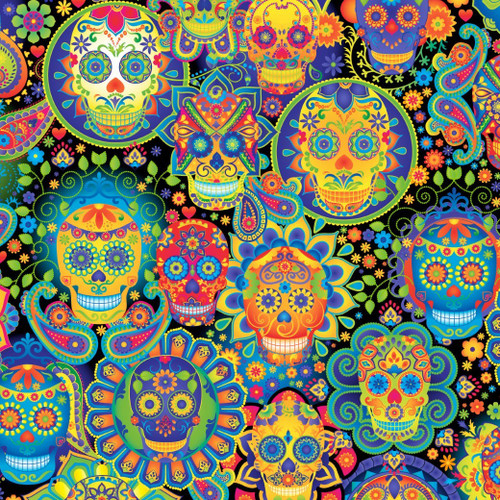 Timeless Treasures Sugar Skull Day Of The Dead Bright Black 100% Cotton Remnant (49 x 112cm TT Day Of The Dead 2)