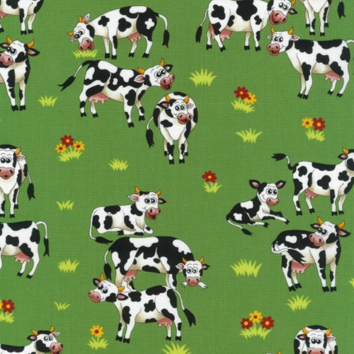 Nutex Farm Fun Cows Grass Green 100% Cotton (Farm Fun 3)