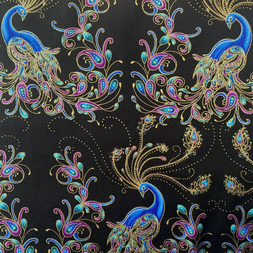 Benartex Peacock Flourish Metallic Double Exposure Black 100% Cotton (Peacock Flourish 6)