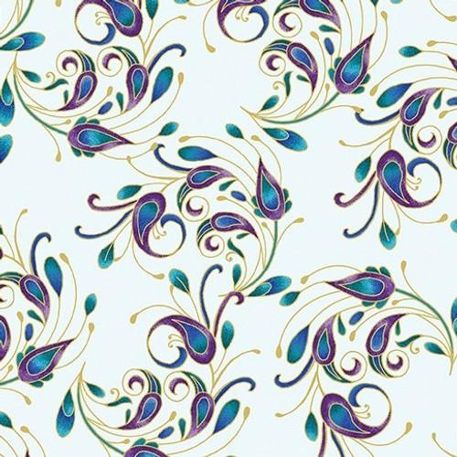 Benartex Peacock Flourish Metallic Spin It Very Light Duck Egg 100% Cotton (Peacock Flourish 7)