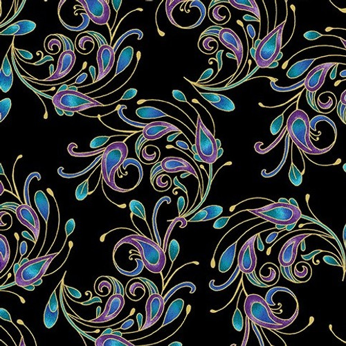 Benartex Peacock Flourish Metallic Spin It Black 100% Cotton (Peacock Flourish 8)