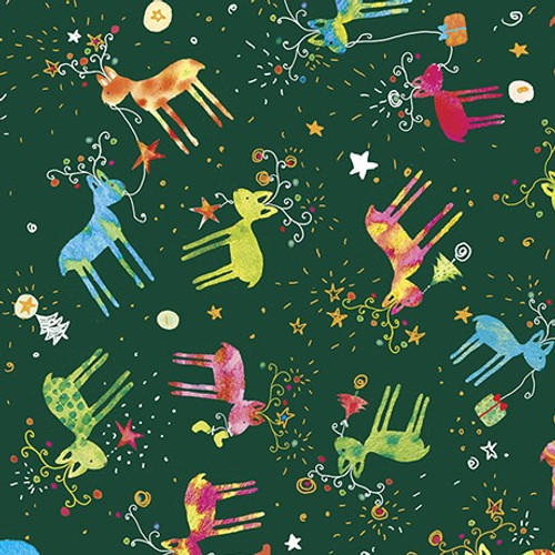 Quilting Treasures Reindeer Forest Green 100% Cotton  Remnant (60 x 112cm QT Reindeer Green)