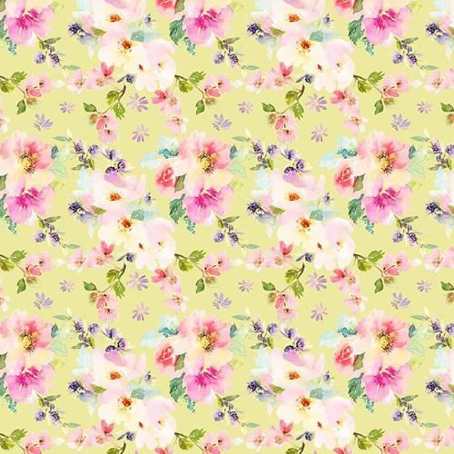 Chatham Glyn Large Roses Floral Yellow 100% Cotton (CG Large Roses Yellow)