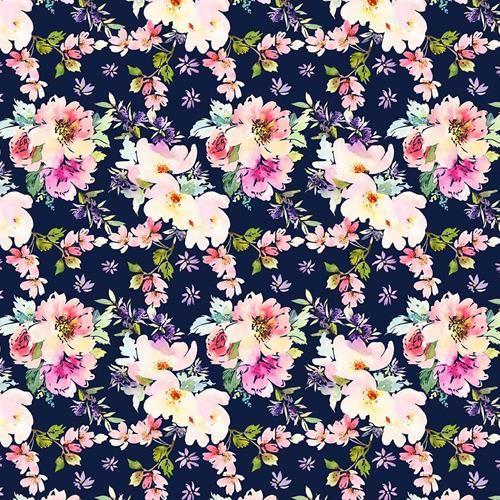Chatham Glyn Large Roses Floral Navy Blue 100% Cotton (CG Large Roses Navy)