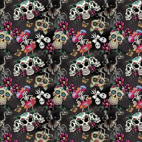 Chatham Glyn Day Of The Dead Sugar Skull Black 100% Cotton (CG Day Of The Dead 1)
