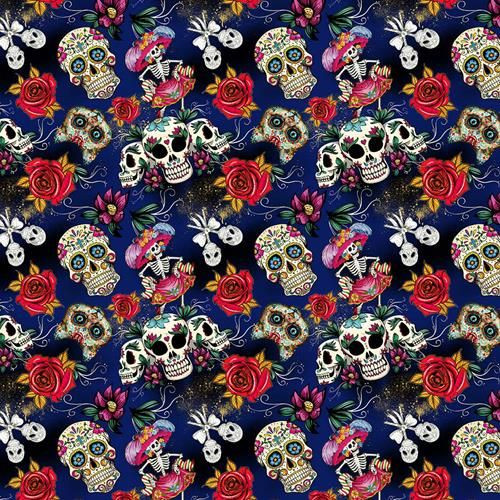 Chatham Glyn Day Of The Dead Sugar Skull Roses Blue 100% Cotton (CG Day Of The Dead 2)