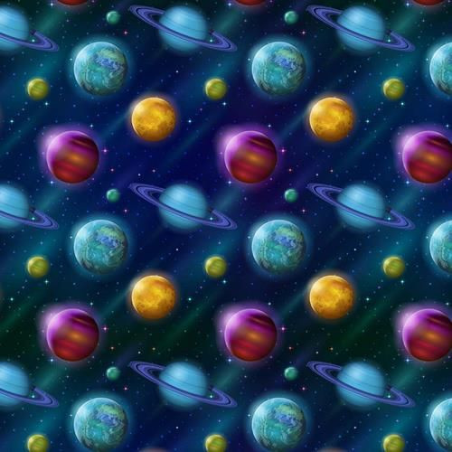 Chatham Glyn Space Galaxies Blue Planets 100% Cotton (CG Space 2)