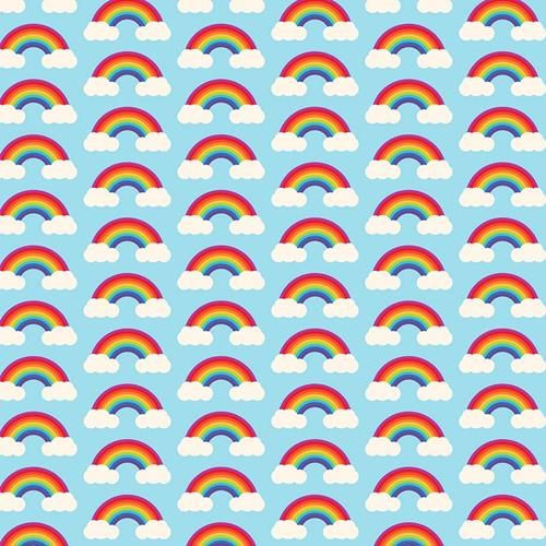 Chatham Glyn Rainbow Arches & Clouds Multicoloured Blue 100% Cotton (CG Rainbow 2)