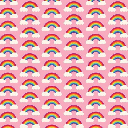 Chatham Glyn Rainbow Arches & Clouds Multicoloured Pink 100% Cotton (CG Rainbow 3)