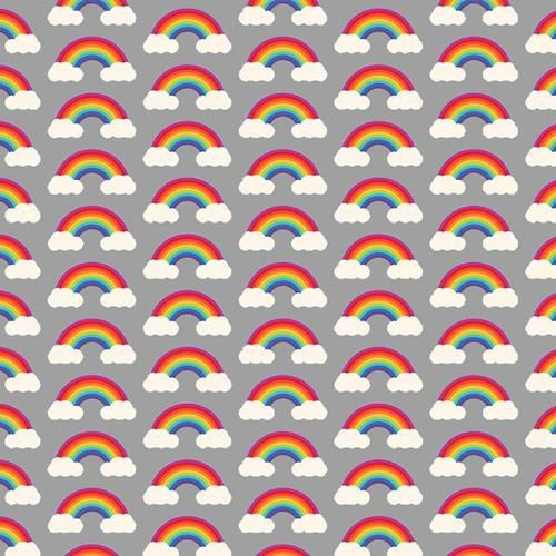 Chatham Glyn Rainbow Arches & Clouds Multicoloured Grey 100% Cotton (CG Rainbow 4)