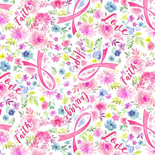 Timeless Treasures Positive Messages Pink Faith, Love, Hope & Courage 100% Cotton Remnant (62 x 112cm TT Faith, Love, Hope & Courage)