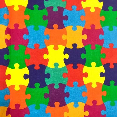 The Vintage Sweetheart  Multicoloured Puzzle Pieces 100% Cotton (VS Puzzle - 1 METRE PIECE)