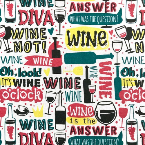 The Vintage Sweetheart Wine Words White 100% Cotton (VS Wine Time - 1 METRE PIECE)
