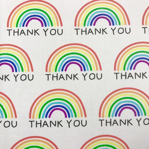 The Vintage Sweetheart Rainbow Thank You Off White 100% Cotton (VS Thank You - 1 METRE PIECE)