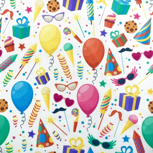 The Vintage Sweetheart Birthday Multicoloured Party Balloons White 100% Cotton (VS Celebrate - 1 METRE PIECE)
