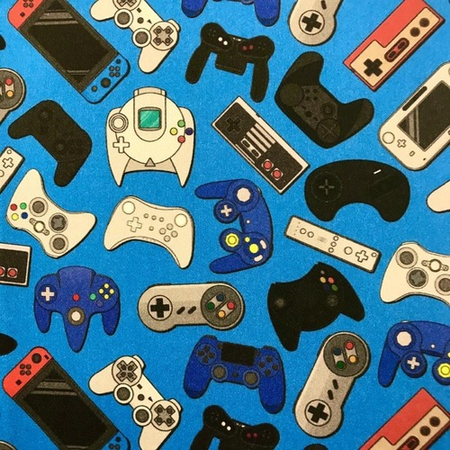 The Vintage Sweetheart Gaming Consoles & Controllers Blue 100% Cotton (VS Gamer - 1 METRE PIECE)