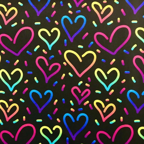 The Vintage Sweetheart Multicoloured Bright Hearts Black 100% Cotton (VS Hearts - 1 METRE PIECE)