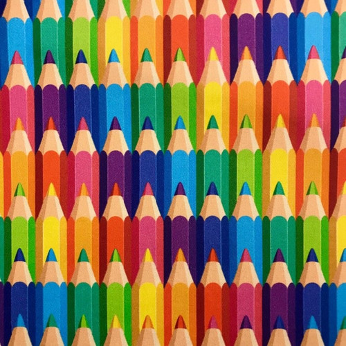The Vintage Sweetheart Multicoloured Rainbow Pencil Crayons 100% Cotton (VS Pencils - 1 METRE PIECE)