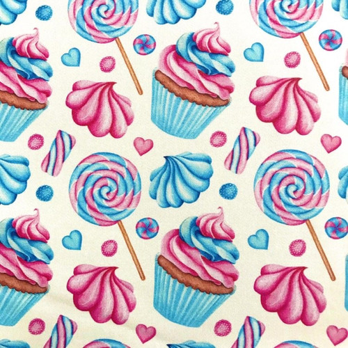 The Vintage Sweetheart Cupcake & Sweet Treat Party Celebration Pink Blue 100% Cotton (VS Cupcakes - 1 METRE PIECE)