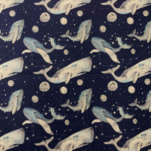 Digital Astrological Whales Blue 100% Cotton (Astrological Whales)