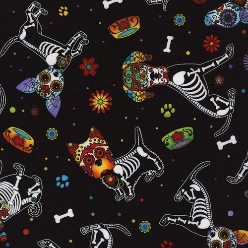Timeless Treasures Sugar Skull Dogs Day Of The Dead Bright Black 100% Cotton (TT Day Of The Dead 3)