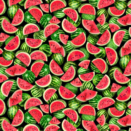Timeless Treasures One In A Melon Packed Watermelon Slices Black 100% Cotton (TT One In A Melon)