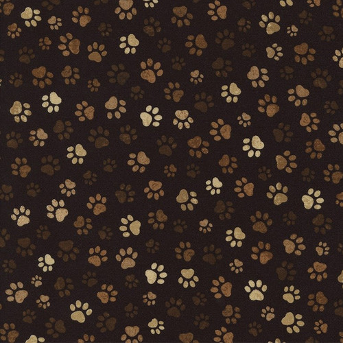 Timeless Treasures Muddy Paw Prints Brown 100% Cotton Remnant (54 x 112cm TT Muddy Paws)