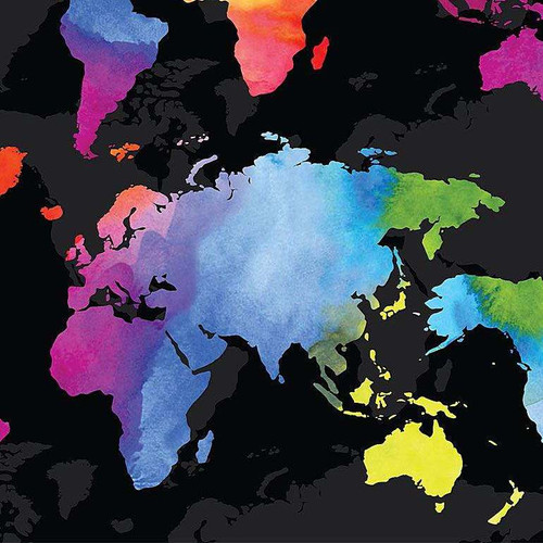 Timeless Treasures Wild World Rainbow World Map Black 100% Cotton (TT World Map)