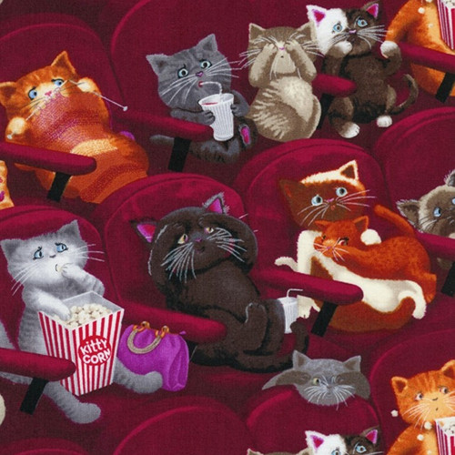 Timeless Treasures Cinema Movie Theatre Cats Wine Red 100% Cotton Remnant (59 x 112cm TT Movie Cats)