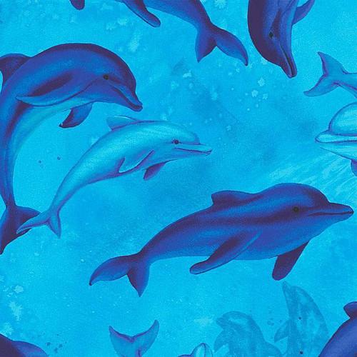 Timeless Treasures Ocean Magic Dolphins Blue 100% Cotton (TT Ocean Magic 1)