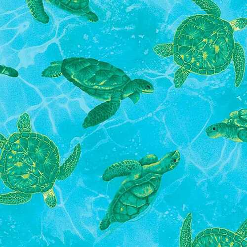 Timeless Treasures Ocean Magic Sea Turtles Blue 100% Cotton (TT Ocean Magic 2)